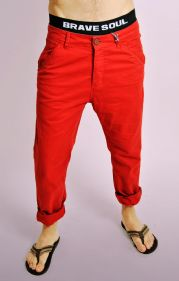 Mens Red Cotton Turn Up Chinos